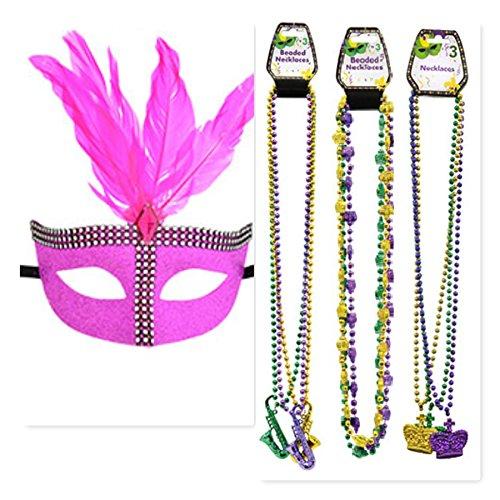 Mardi Gras Mask and Bead Set