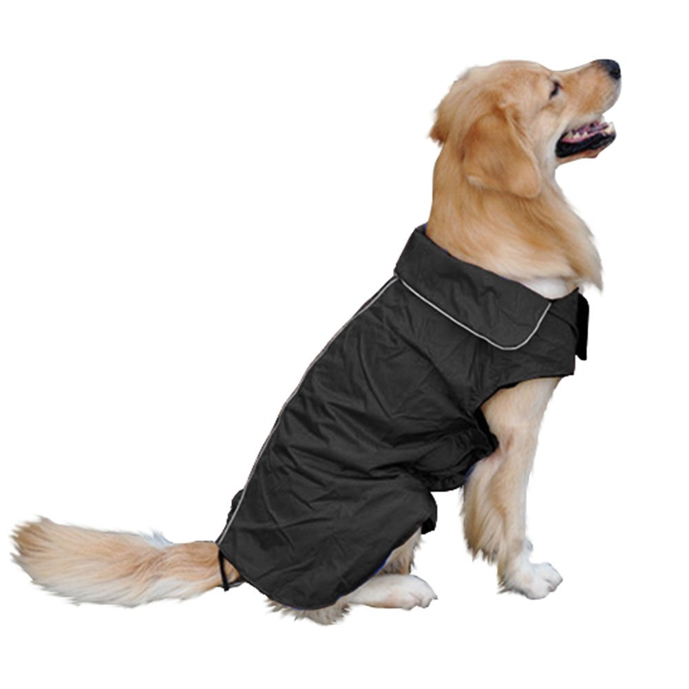 Black XS(Back 10.2\ Black XS(Back 10.2\ Fosinz Outdoor Dog Coat with Leash Access Reflective Waterproof Jacket Fleece-Lined Comfort Warm Vest for Cold or Winter Weather (XS(Back 10.2  Chest 14.2 -15.7  Neck 9.4 ), Black)