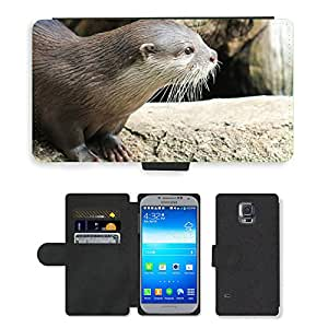 PU LEATHER case coque housse smartphone Flip bag Cover protection // M00115000 Nutria naturaleza animal // Samsung Galaxy S5 S V SV i9600 (Not Fits S5 ACTIVE)