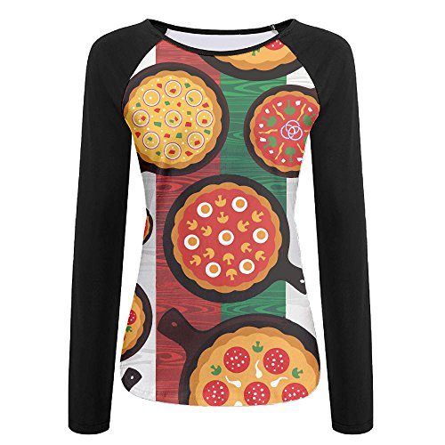 Women's Long Sleeve T-Shirt Crewneck Tops Sweatshirt Front Italian Flag Different Pizza Flavors Printed Patchwork Tees