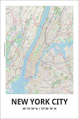 Spitzy's Map of New York City New York 12 by 18 Inch Color City Map Poster - Traveler, United States, Adventurer, Modern Wall Decor - New Map York City