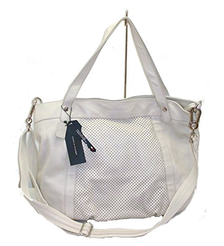BORSA TOMMY HILFIGER TH 15552 in pelle leather shopping satchel handbags BEIGE