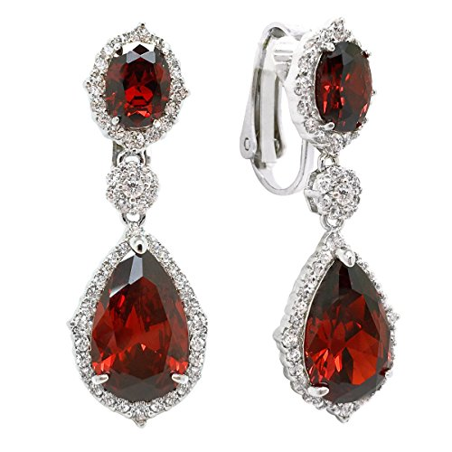 Sparkly Bride Red CZ Clip On Earrings Teardrop Rhodium Plated Wedding Women Fashion 1.38 inches