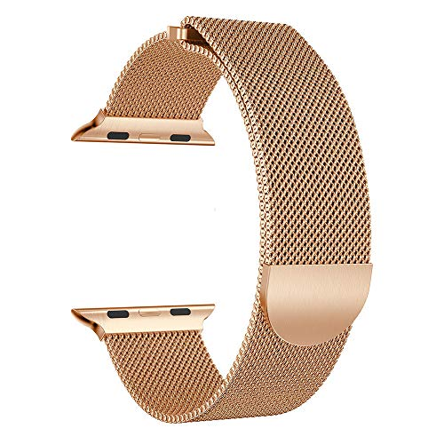 〓LYN Star〓 Replacement Compatible for Apple Watch Series 4, Unique Magnet Milanese Loop Stainless Steel Bracelet Strap