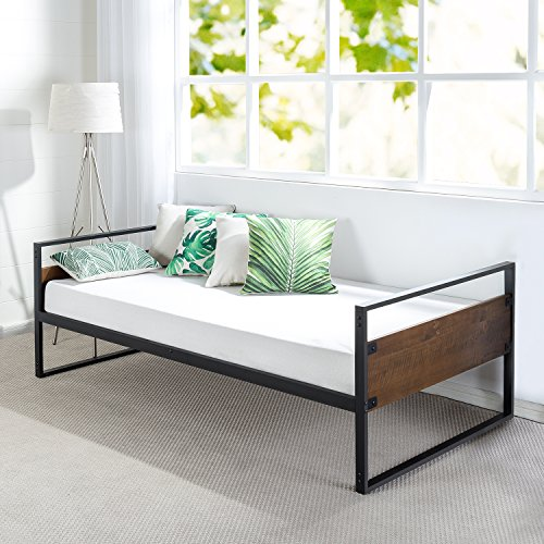 Zinus Ironline Twin Daybed Frame / Premium Steel Slat Support (Wood Traditional Daybed)