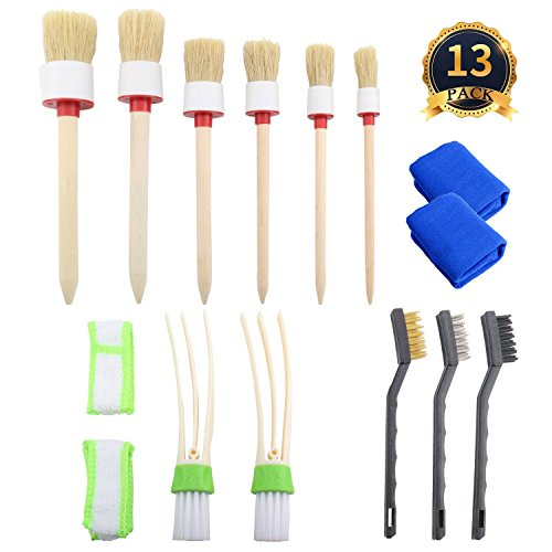 PAUTO-P Car Cleaner Brush 13 Pieces Car Cleaner Brush Set,Auto Detailing Brush Set For Cleaning Weels, Interior, Exterior, Leather and 2 pcs Automotive Air Conditione, 2 car wash microfiber cloths