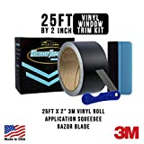 Gold Label Detailing 3M Black Out Trim Chrome Delete Vinyl Wrap Kit | 25ft Roll of 3m Scotchprint 1080 | Felt Edge Squeegee and Razor Blade Included (Satin, 2'')