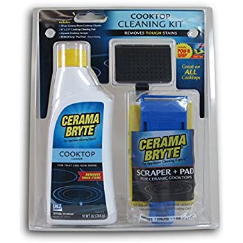 Cerama Bryte - Cooktop Cleaning Kit - Includes 10 oz. Bottle of Cerama Bryte Cooktop Cleaner, 1 Cleaning Pad and 1 Scraper