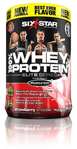 Six Star Pro Nutrition Elite Series Whey Protein Powder, 2lb Strawberry (Packaging may vary) by Six Star (Series Pro Strawberry)