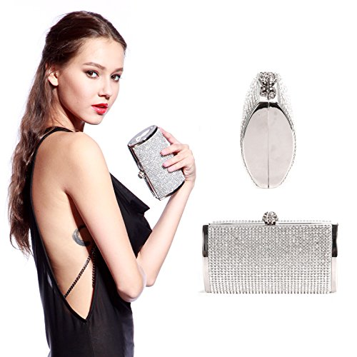 Deco Metallique Main Argente Sac Fille Femme Pochette Strass Rigide Porte monnaie Pr a 0wqwBYO