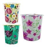 Round Floral Design Wastebasket - Set of 8