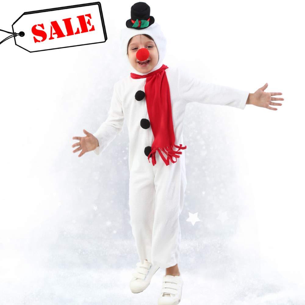 WANG-LONG Weihnachtskleidung Weihnachtskostüm Kinder Schneemann Rote Nase Overall Mädchen Jungen Spielerisch Weihnachtsmann Urlaub Kostüm Weihnachtsfeier Weihnachten Kleid Cosplay Kostüm Süß,125CM