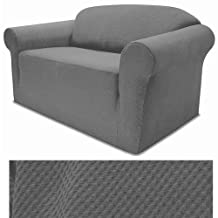 4-Way Stretchable Jersey Stretch GREY Slipcover Set - Sofa cover, Loveseat Cover and Arm Chair Cover included