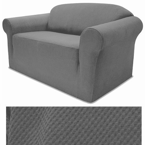 Grand Linen Jersey Stretch Solid GREY Slipcover Set - Sofa cover, Loveseat Cover and Arm Chair Cover (3 Piece Sectional Arm Chair)