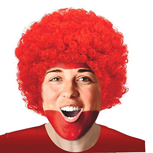 Amscan Curly Afro Wig Costume Party Headwear (1 Piece), Red, 10.7 x 8""