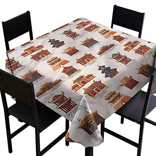 Square Tablecloth Ancient China Antique House Pattern Soft and Smooth Surface W36 xL36 Waterproof/Oil-Proof/Spill-Proof Tabletop Protector