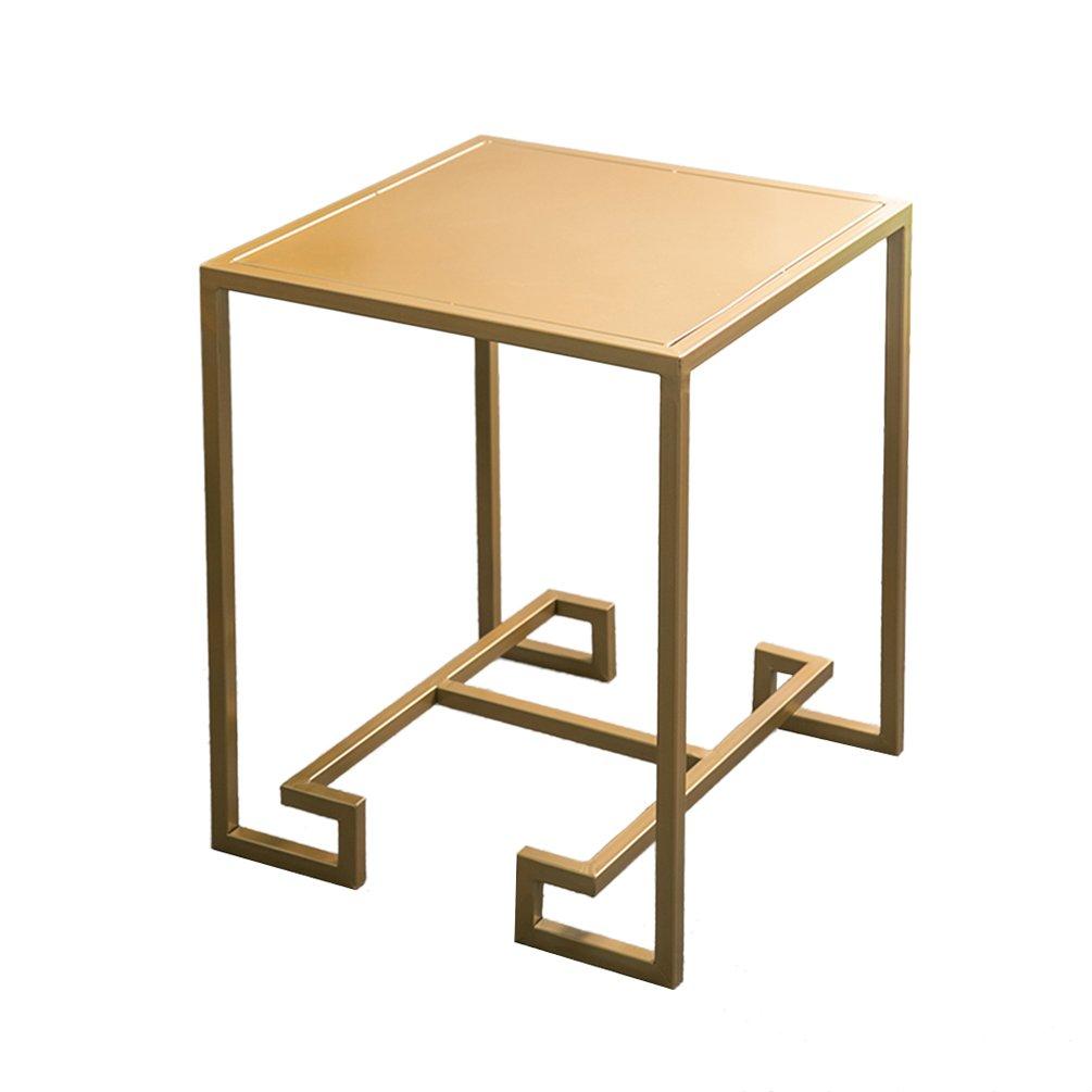 CSQ アイアンアートベッドサイドテーブル、クリエイティブゴールデンコーヒーテーブルリビングルーム複数のサイドカジュアルな読書テーブルソファーテーブル装飾テーブル50 * 50 * 55CM (色 : ゴールド) B07DZL3FTK ゴールド ゴールド
