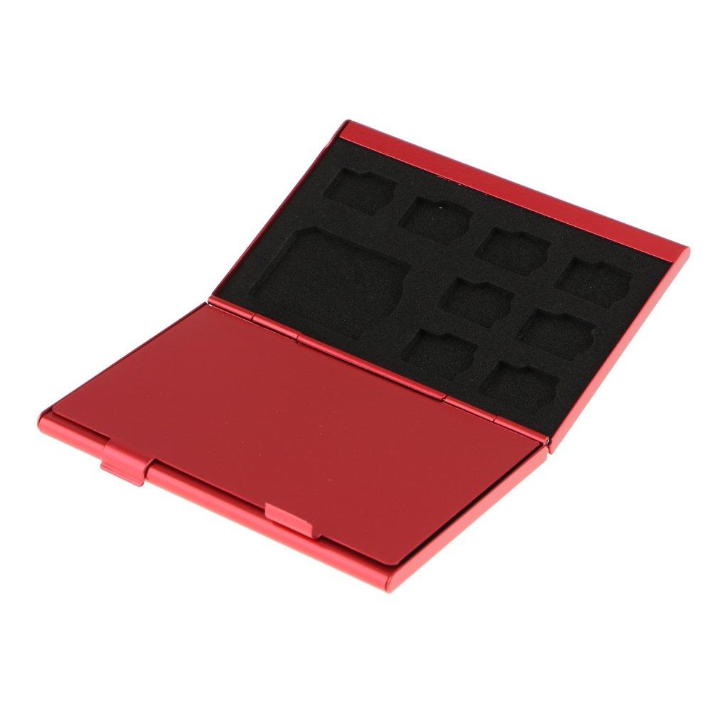 Baoblaze Portefeuille de Carte Mémoire en Alliage d'Aluminium avec 10 Pcs TF / 3 Pcs SD Slots - rouge   Sale