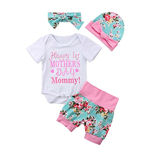 SMALLE Baby Girls Newborn Kids Mother's Day Letter Floral Romper Shorts Mother's Day Outfits 4Pcs (3-6M, Pink) ()
