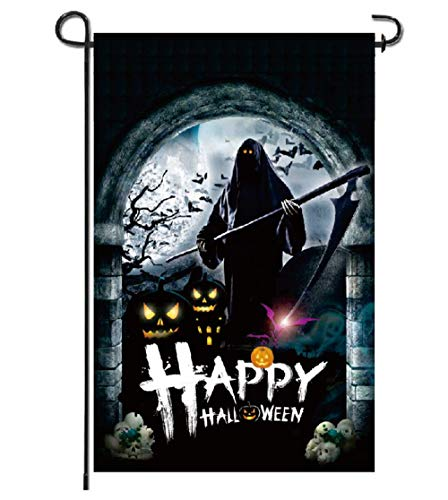 Halloween Garden House Flags Grim Reaper Ghost Rip Evil Pumpkin Flag Double Sided Black for Outdoor Home Lawn Yard Rustic Mini Scary Decor 12 x 18 Inch]()