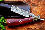 NS (2 8/18) Sale DKC-542 Bostonian Barber Razor Damascus Steel 6'' Long 3'' Blade 5 oz Red Blood Wood & Faux Tortois Shell