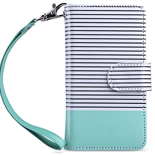 ULAK Flip Wallet Case for iPod Touch 5 & 6, iPod Touch 7 Case 2019, PU Leather Wallet Case with Kickstand Card Holder ID Slot Shockproof Cover for iPod Touch 5/6th/7th Gen, Minimal Mint Stripes (Ipod 5 Cases With Design Flip)