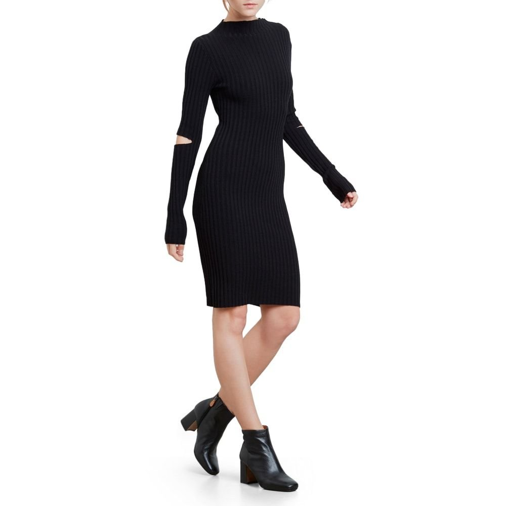 Kenneth Cole Women's Cold Elbow Sweater Dress, Black, M by Kenneth Cole