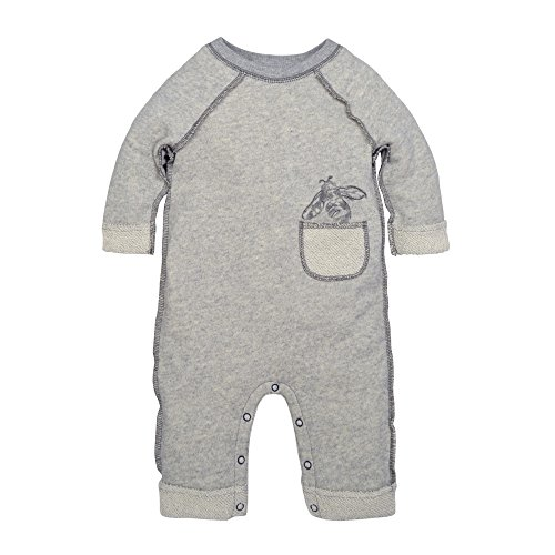 Terry Cloth Baby Onesie - Burt's Bees Baby Baby Boys' Organic One-Piece Romper Coverall, Heather Grey Loop Terry Rolled Cuff, 6-9 Months