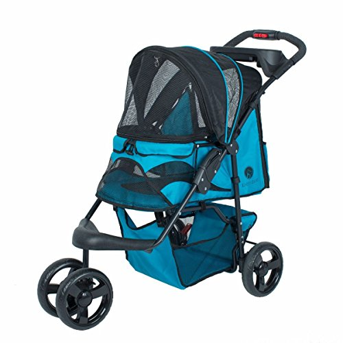 PETIQUE Easy Foldable Travel PET STROLLER for Small, Medium, Large Dog and Cat (TURQUOISE)