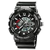 ETEVON Men's Analog Sports Watch, Aposon Military Wrist Watch Large Dual Dial Digital Outdoor Watches Electronic Malfunction Two Timezone Back Light Water Resistant Calendar Day Date - Black