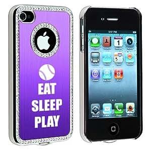 Apple iPhone 4 4S 4G Purple S1405 Rhinestone Crystal Bling Aluminum Plated Hard Case Cover Eat Sleep Play Baseball Softball wangjiang maoyi