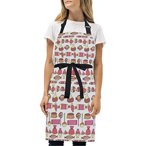 Candy Bars Bags Cup Cake Red Bib Aprons, Cotton Kitchen Apron, Professional Chef Bib Apron for Women and Men, Cook Apron Adjustable Size with 2 Pockets -