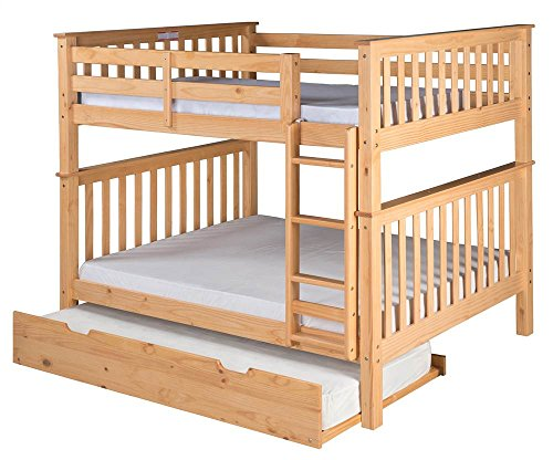 Camaflexi Santa Fe Mission Tall Bunk Bed Attached Ladder with Under Bed Trundle, Full over Full, Natural