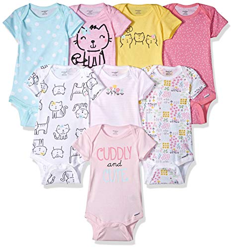 Onesies Brand Baby Girls' 8-Pack Short-Sleeve Bodysuit, Cats, 3-6 Months