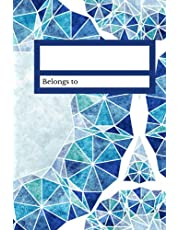 Notebook: Blue Geometric Lined Paper 6 x 9 inches 160 pages