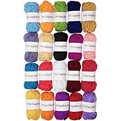 TYH Supplies 20 Skeins Bonbons Yarn Assorted Colors 100% Acrylic for Crochet & Knitting Multi Pack Variety Colored Assortment