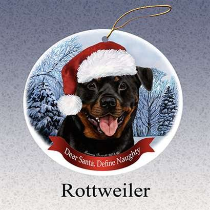- Holiday Pet Gifts Rottweiler Santa Hat Dog Porcelain Christmas Tree Ornament