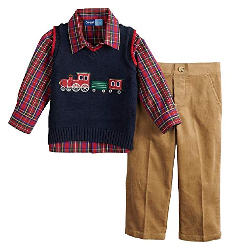 Great Guy Baby Boy Train Sweater Vest, Plaid Shirt & Pants Set Size 3T Navy/Red