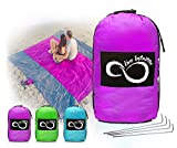 Sand Free Compact Outdoor Beach / Picnic Blanket- Huge-9' x 10' For 7 Adults- Best Mat For Festivals & Hiking-Very Soft & Quick Drying Ripstop Nylon- 5 Weight-able Pockets + 4 Anchor Loops Purple