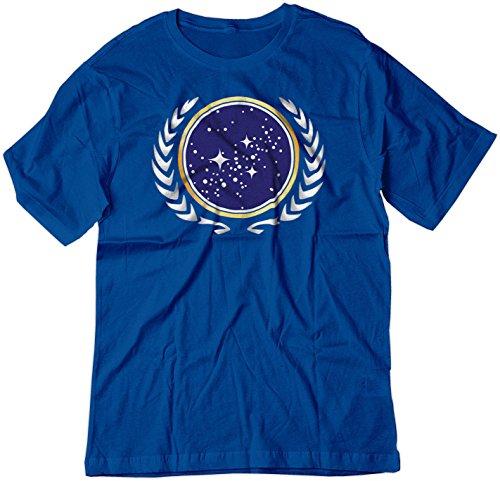 (BSW Men's Star Trek United Federation of Planets Logo Shirt LRG Royal Blue)