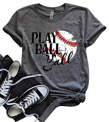 - DUDUVIE Let's Play Ya'll Tshirt Let's Do This Boys Shirt Baseball Mom T-Shirt Tee Tops(Small) Gray