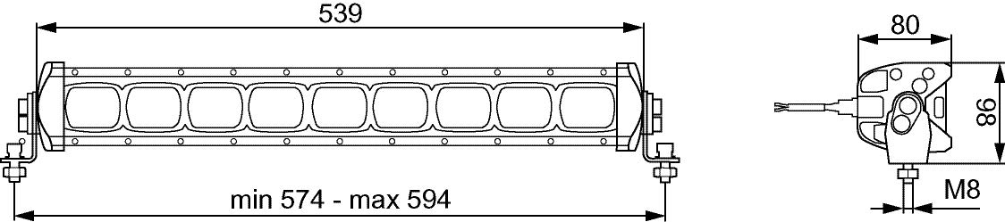 Hella 1GJ 360 001-002 Value Fit LED-Arbeitsscheinwerfer LBX 380 LED 12V//24V, 2.000 Lumen, Breite 38cm, staub- und wasserdicht /(IP6K7/) 1716799