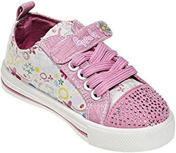 See More Sizes Peppa Pig Kids Toddler Girls Jeweled Toe Pink Floral Canvas Sneakers Lace Hook and Loop Strap