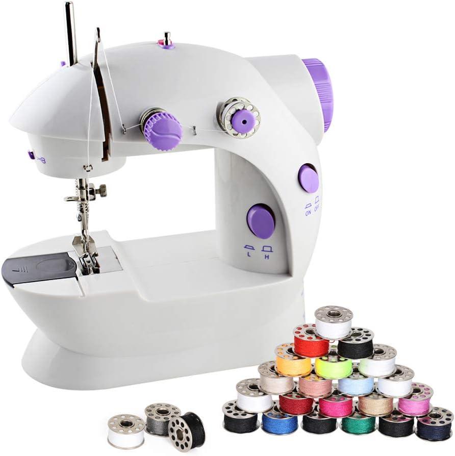HEOMU Mini máquina de Coser con 25 bobinas de PCS e Hilo de Coser, Opciones de Doble Potencia, Pedal, Pedal niños, Principiantes, niñas y niños