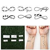 Tattify Infinity Symbol Temporary Tattoos - Sweet Nothings (Set of 12) Long Lasting, Waterproof, Fashionable Fake Tattoos