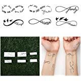 Tattify Infinity Symbol Temporary Tattoos - Sweet Nothings (Complete Set of 12 Tattoos - 2 of each Style) - Individual Styles Available and Fashionable Temporary Tattoos
