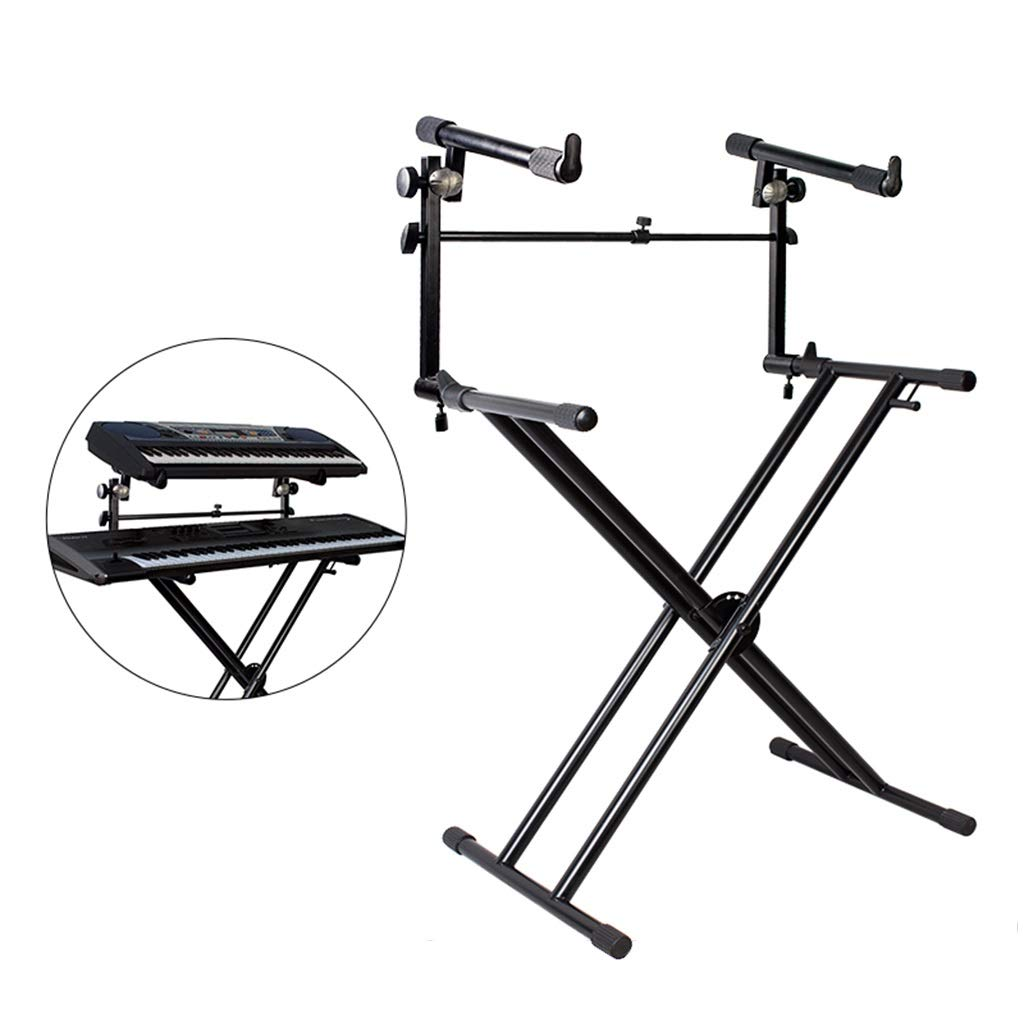 Synthesizers & Workstations Keyboard Stand Piano Stand Keyboard Stand and Bench Set Double Fold 49-88 Key Electric Piano Stand Adjustable Keyboard Stand (Color : Black, Size : High 100cm) by Synthesizers & Workstations
