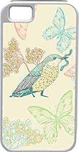Case For HTC One M7 Cover s Customized Gifts Cover Artistic bird eating worm with butterflies and floral background
