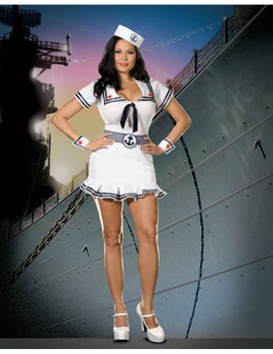 Plus Size Pin Up Halloween Costumes (Cruise Cutie Adult Costume - Plus Size 3X/4X)