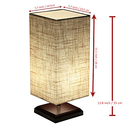 Ewalite Minimalist Romantic Solid Wood Table Lamp With Flaxen Fabric Shade Bedside Desk Lamp For Bedroom, Dresser, Living Room, Baby Room, College Dorm (Square) Set of 2 PCS